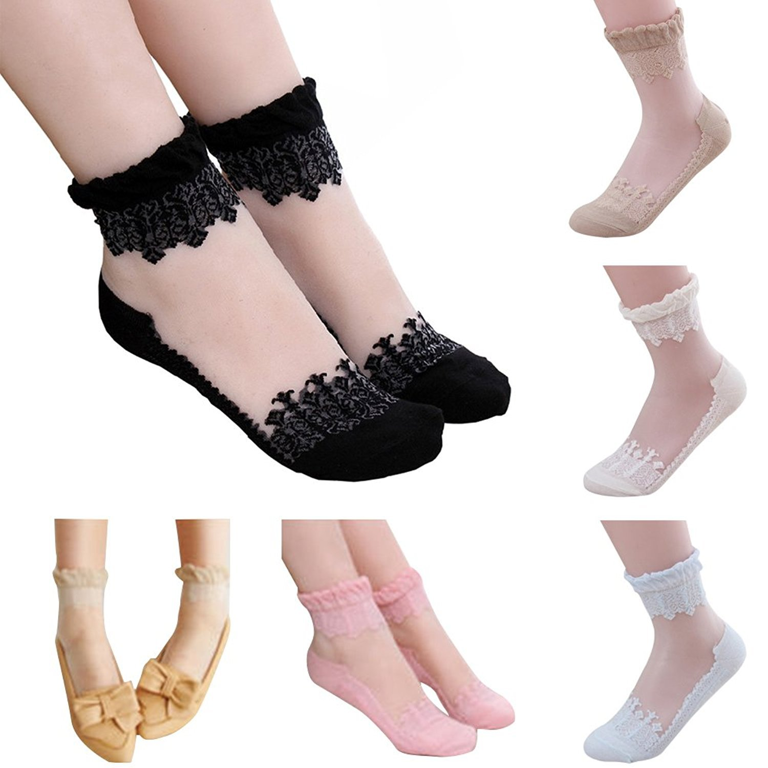 5 Pairs of Women Girl's Anklet Socks Princess Lace Ruffle Frilly Cotton Socks Frilly) Cocobla 001398#8021.ca1