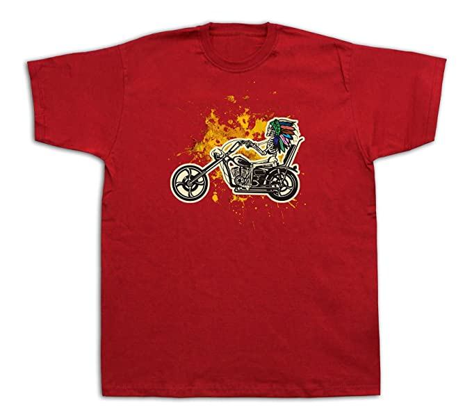 0abaaaf8 Image Unavailable. Image not available for. Color: Mens Tee Shirts T-Shirt  Print Indian Motor Cycle Vintage ...