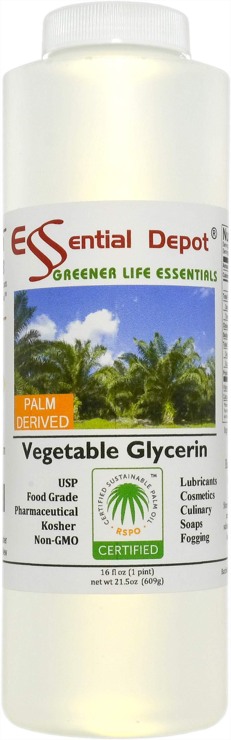 Glycerin Vegetable - 1 Pint (21.5 oz. net wt) - Non GMO - Sustainable Palm Based - USP - Kosher - Pure - Pharmaceutical Grade