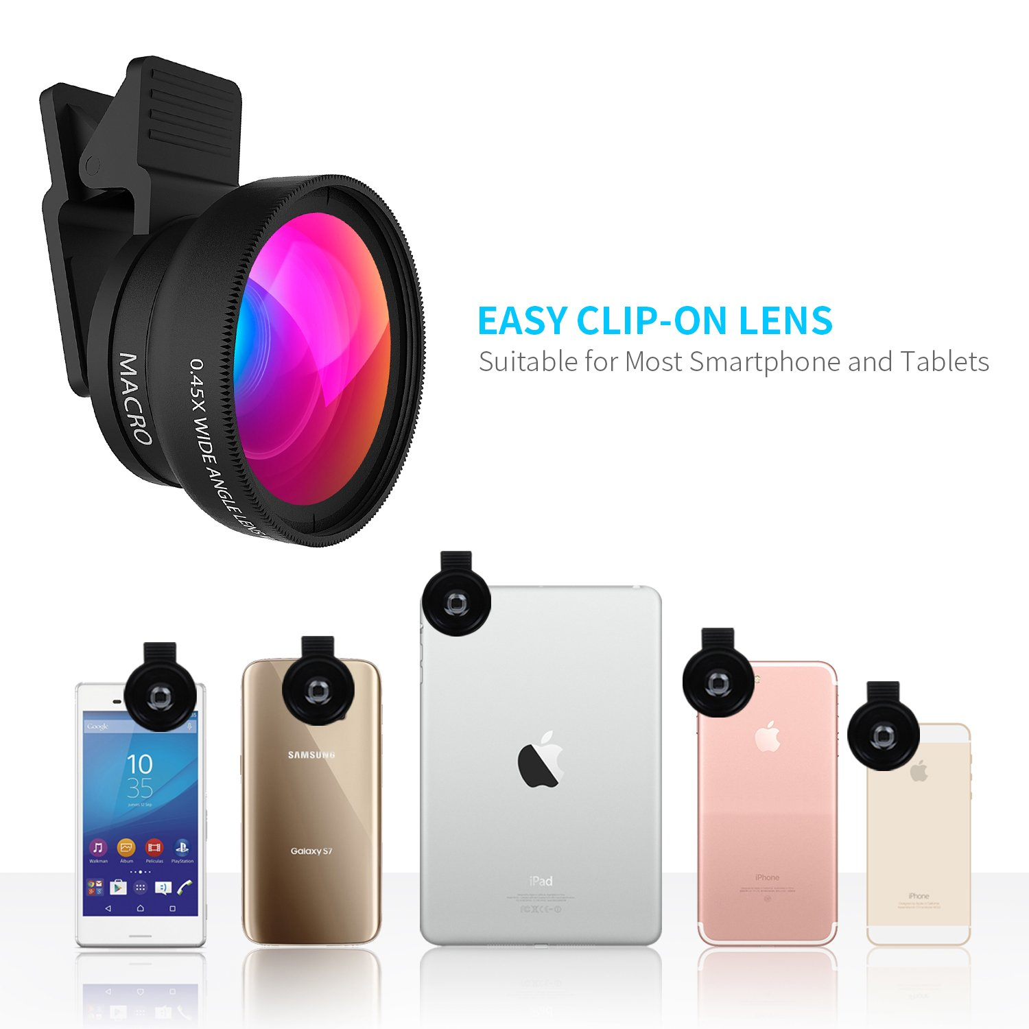 Cell Phone Lens - Wide Angle Lens & Macro Lens 2 in 1 Professional HD