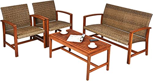 Tangkula 4 PCS Patio Acacia Wood Rattan Conversation Set