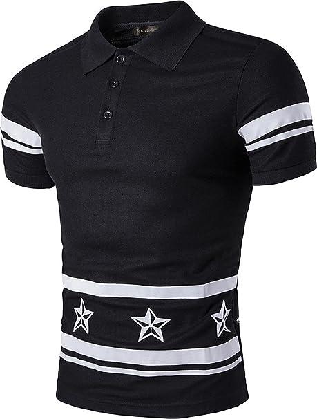 Sportides Mens Polo Shirt Fashion Short Sleeve Star Printing ...