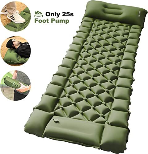 FRETREE Camping Air Sleeping Pad Mat - Foot Press Inflatable Lightweight Backpacking Pad for Hiking Traveling, Durable Waterproof Air Mattress Compact Hiking Pad