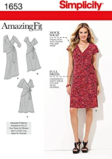 product image for Simplicity 1653 Women's Knit Wrap Dress Sewing Patterns, Sizes 10-18