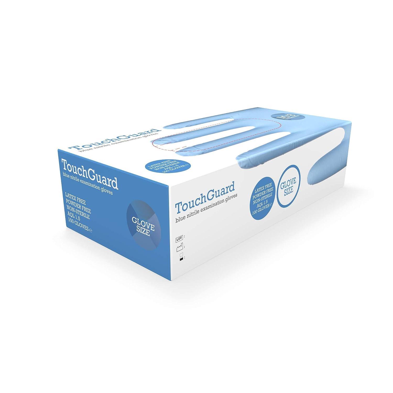 TouchGuard caja de 100 unidades Guantes de nitrilo negros desechables sin polvos ni l/átex peque/ños