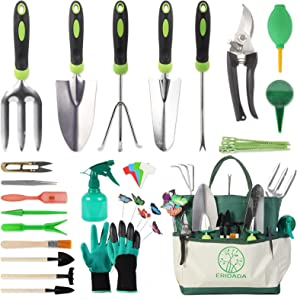 100 Pcs Garden Tools Set, Extra Succulent Tools Set, Heavy Duty Gardening Tools stainless steel with Soft Rubberized Non-Slip Handle Tools, Durable Storage Tote Bag, Gifts for Gardening Lovers