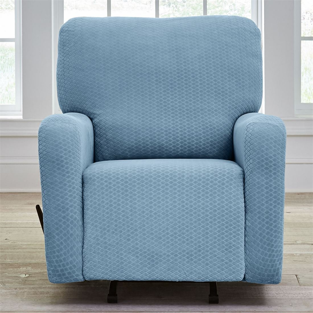 BrylaneHome Bh Studio Stretch Diamond Recliner Slipcover (Light Blue,0)