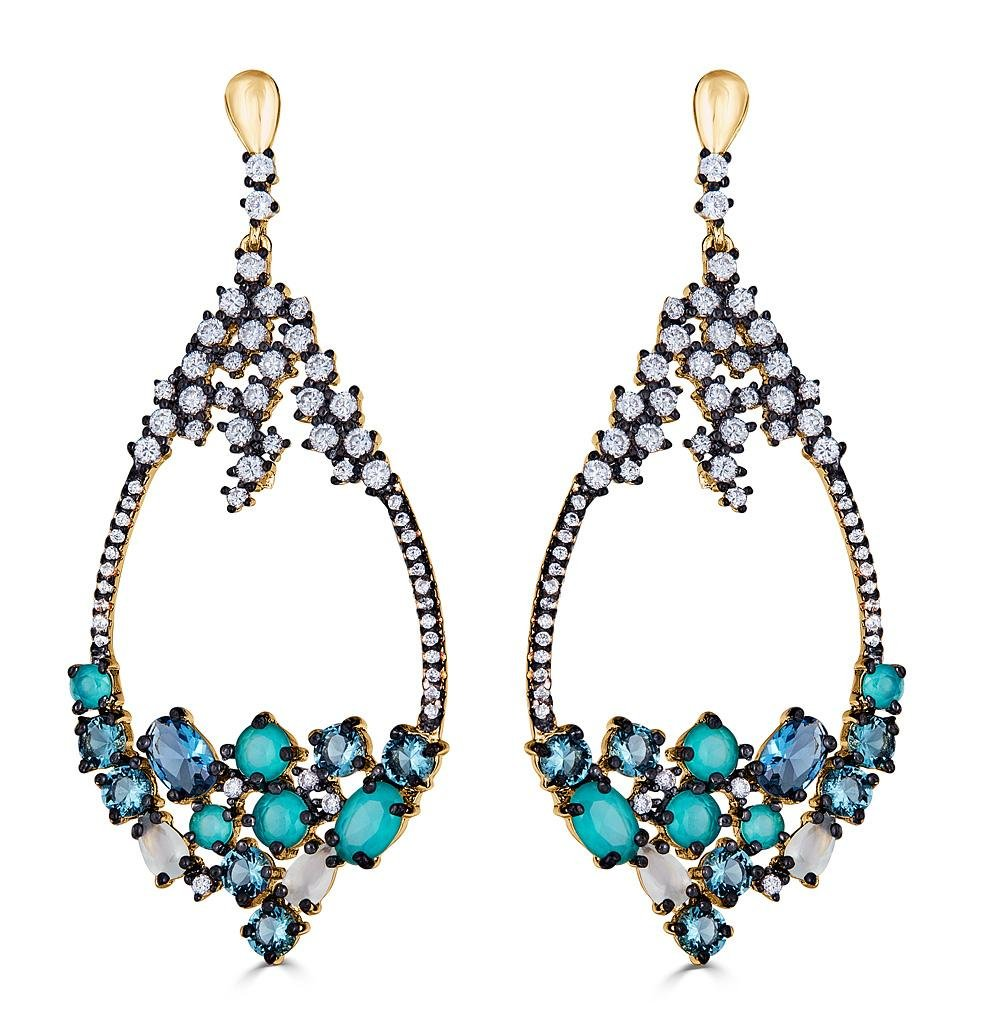 Gold and Black Plated Sterling Silver Cubic Zirconia Dangle Earrings by Caratina