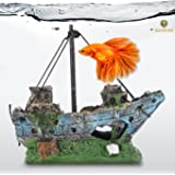 Betta Ship Wreck --- Give Rustic and Vintage feel - Fish Tank Cave for Healthy Environment - Durable Resin Material - Aquarium or Home Decor