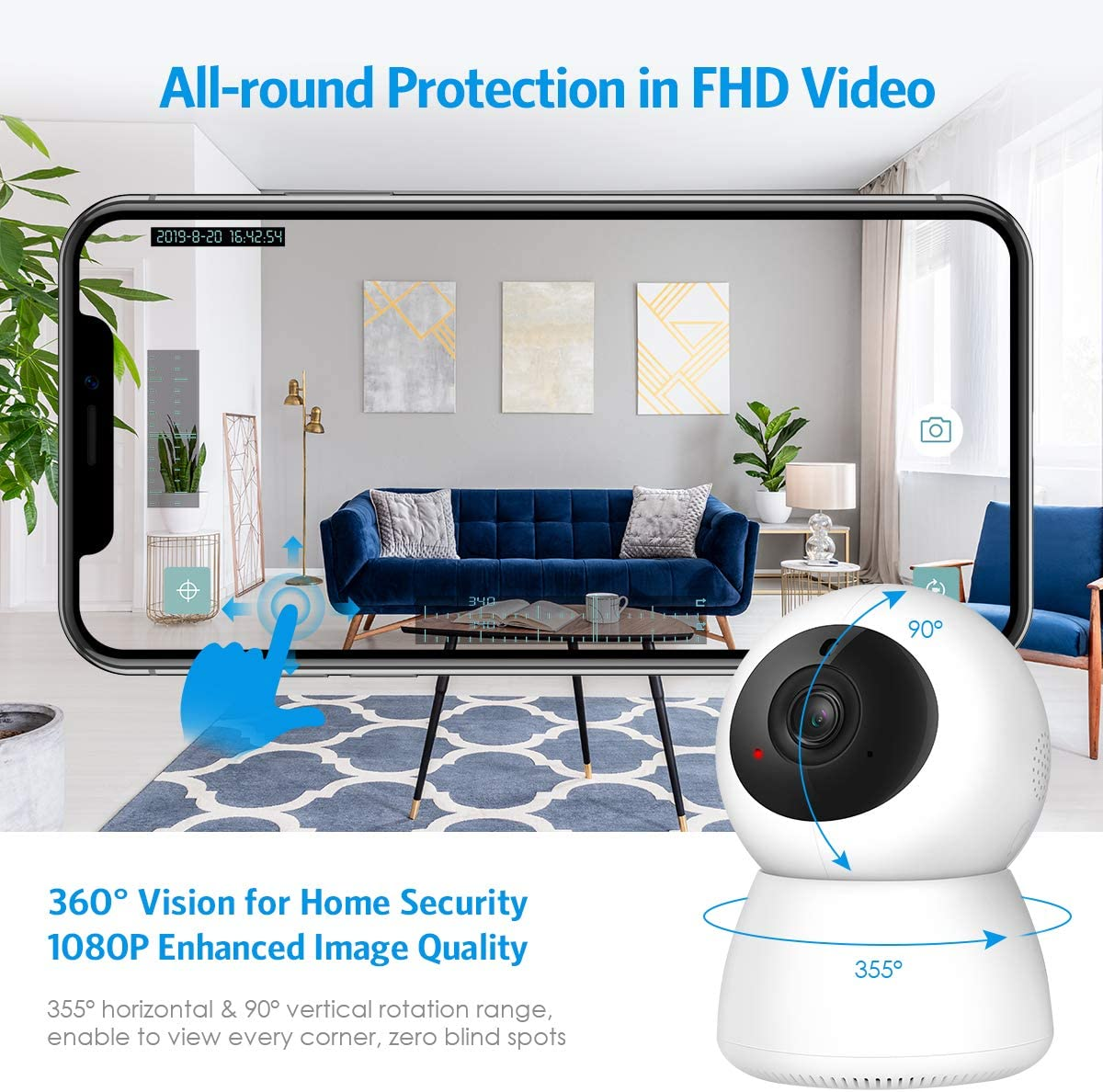 2019 NEW Criacr 1080p WiFi Home Security Camera, Indoor Smart Surveillance Pet Baby Monitor, Zoom IP Camera, Night Vision, Ptz, Two-Way Audio, Pan, Tilt, Remote Viewing for Elder, Home, Shop, Office