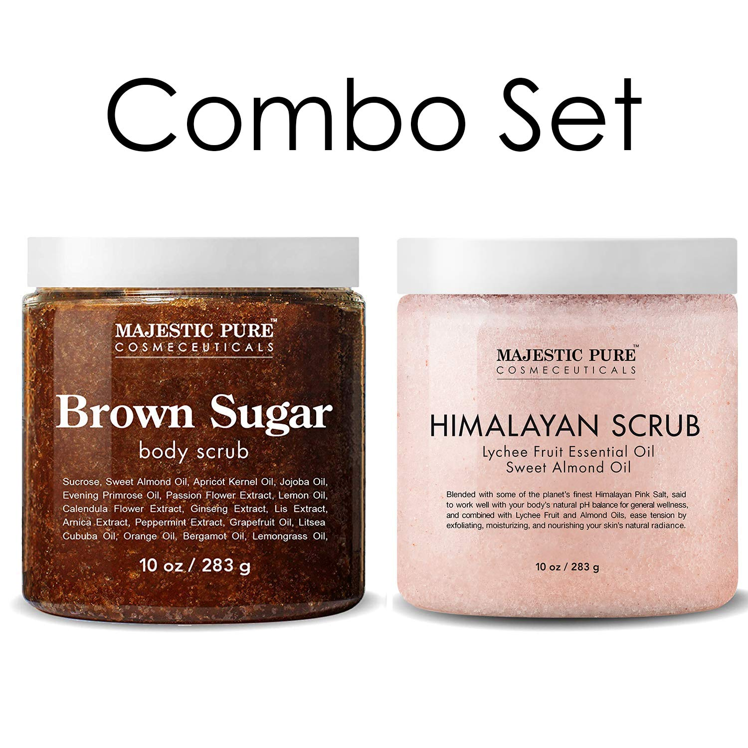 Majestic Pure Himalayan Salt Body Scrub & Brown Sugar Scrub Set - All Natural Scrubs for Skin Care - Exfoliate and Moisturize, Reduce the Look of Spider Veins, Eczema, Stretch Marks, Acne & Cellulite by Majestic Pure