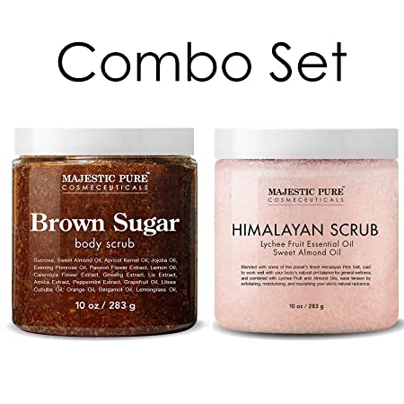 Majestic Pure Himalayan Salt Body Scrub Brown Sugar Scrub Set All Natural Scrubs for Skin Care Exfoliate and Moisturize, Reduce the Look of Spider Veins, Eczema, Stretch Marks, Acne Cellulite