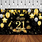 50th Birthday Background Banner 50th Birthday Party Decoration Extra Large Black Gold Sign Poster for Anniversary Photo Booth