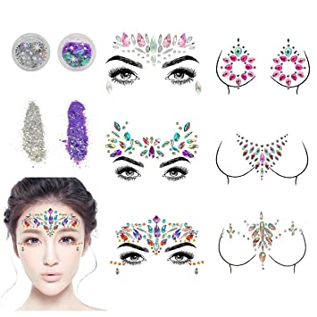 5ddad17457b Face Gems, Aufisi Mermaid Face Jewels Festival Face Glitter Rhinestones  Rave Eyes Body Bindi Temporary...