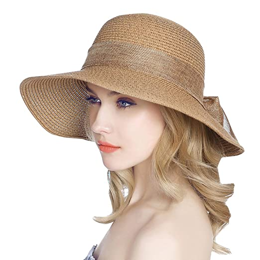 c788fa7f8b7e4 Jemis Women  S Packable Sun Hat Wide Front Brim Smaller Back - SPF 50  (brown) at Amazon Women s Clothing store