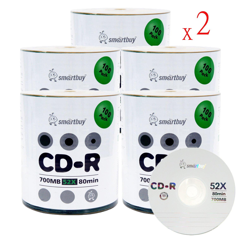 Smartbuy 700mb/80min 52x CD-R Logo Top Blank Data Recordable Media Disc (1000 Disc)