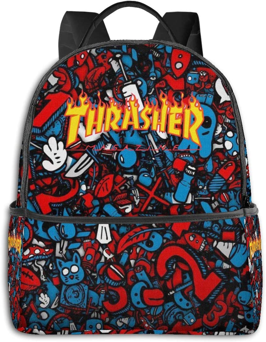 ROIHFOS Thrasher Black Classic Casual Backpack Lightweight Super Polyester Canvas Backpack Outdoor'sports travel bag