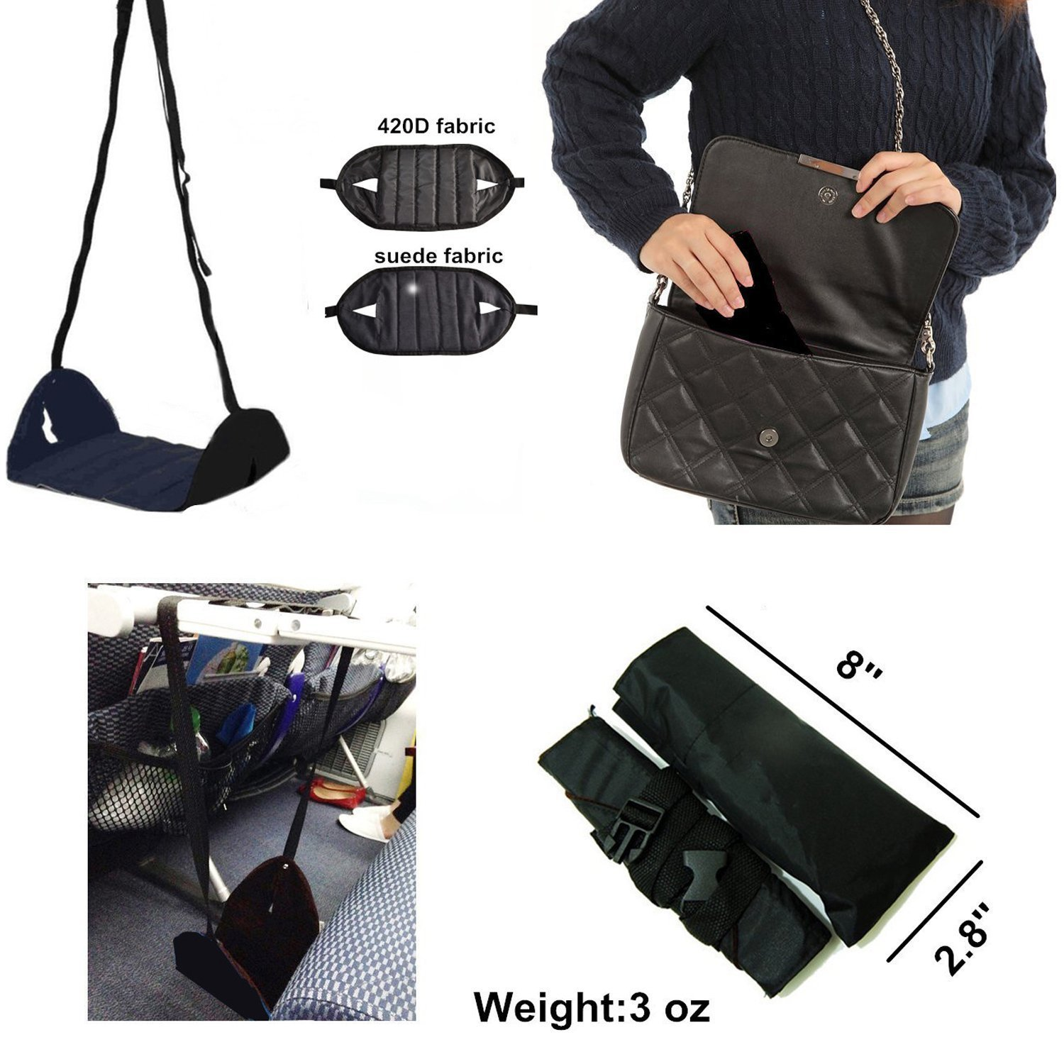 Ohderii Airplane Footrest - Travel Accessories - Portable Foot Rest Flight Carry-On Feet Rest Office Feet Rest Adjustable Under Desk Foot Hammock, Tested and Proven to Prevent Swelling and Soreness by ohderii (Image #5)