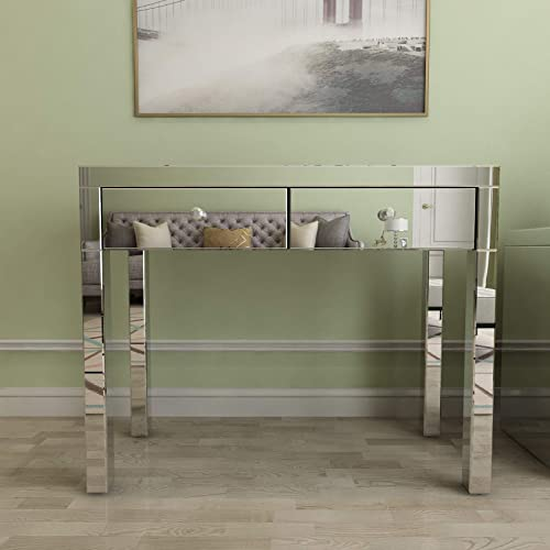 Mecor Mirrored Console Table Occasional Sofa Side Table with 2 Drawers Silver Vanity Makeup Dressing Table Entry Table for Entryway Hallway Living Room