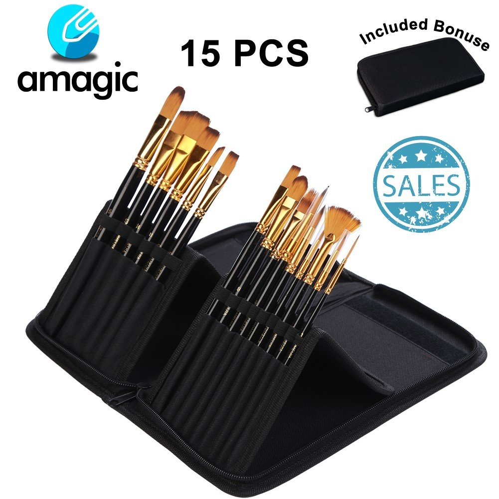 Set of 15 Large Acrylic Paint Brush Set With Carrying Case - Different Shapes & Sizes, No Shed Bristles Wood Handles For Acrylics, Oil And Watercolor - Nice Gift For Beginner, Professional Artists& Ki