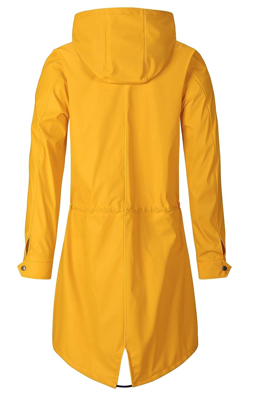 SWAMPLAND Damen PU Regenjacke Mit Kapuze Wasserdicht Windbreaker Wetterfest /Übergangsjacke Regenmantel