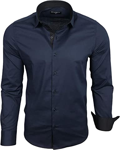 Baxboy Camisa de hombre de manga larga, para negocios, ocio, boda, fácil de planchar, ajustada, cuello Kent camisa B-500 azul marino XXL