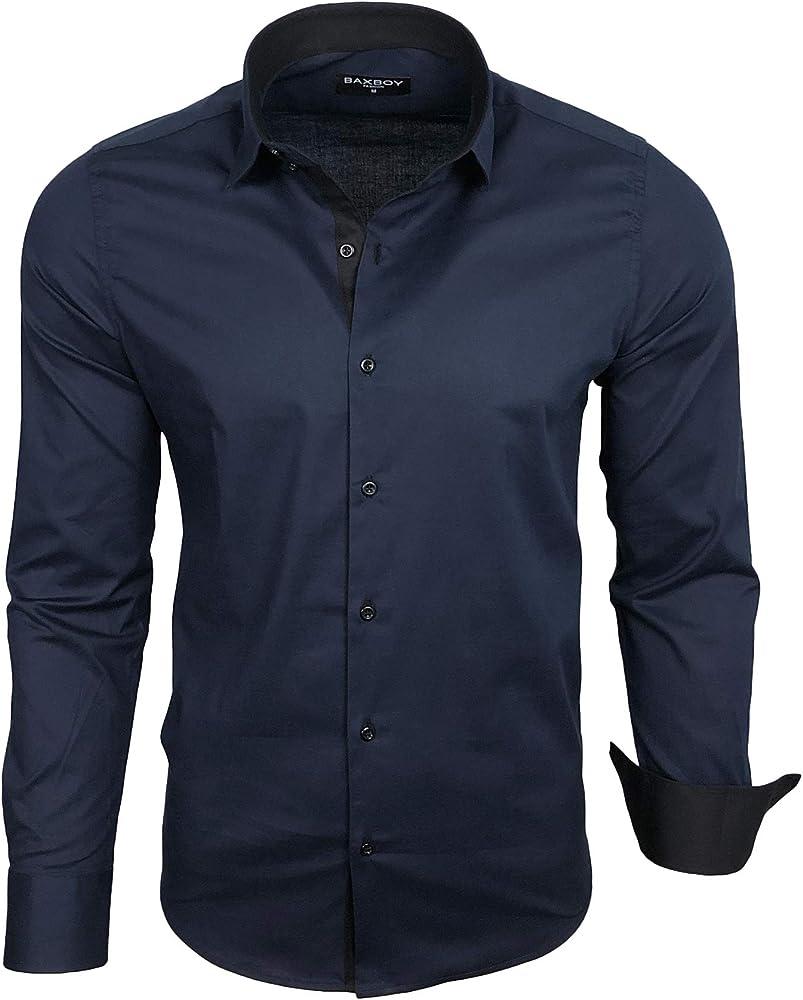Baxboy B-500 - Camisa de manga larga para hombre, para negocios, tiempo libre, bodas, plancha, ajustada azul marino XXL: Amazon.es: Ropa y accesorios