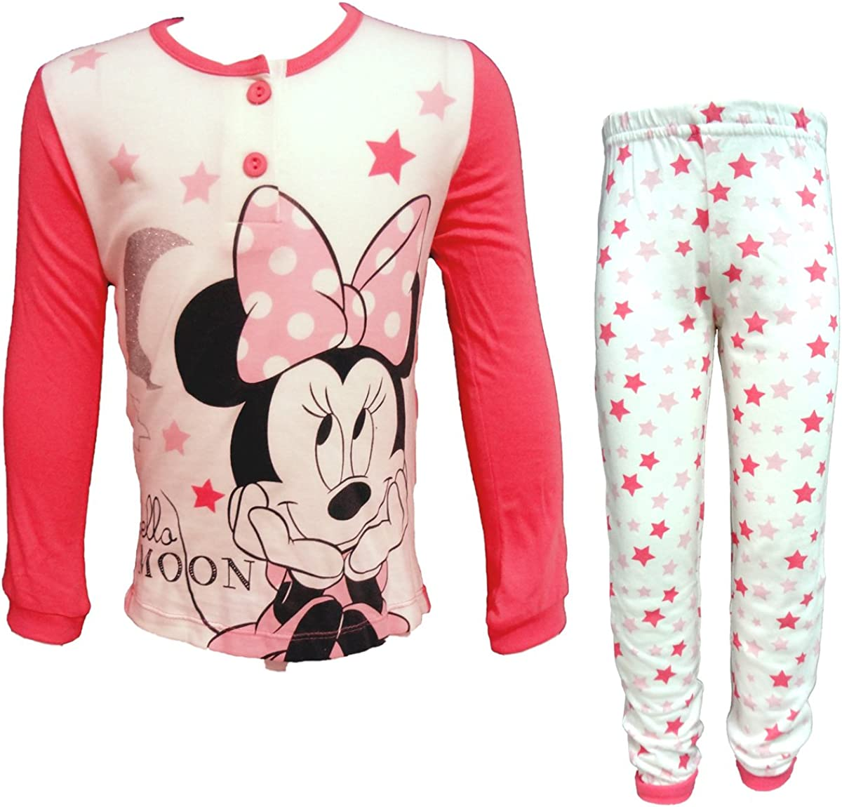 WD22936 Disney Pigiama Bambina Lungo in Cotone Jersey Minnie topolina Art