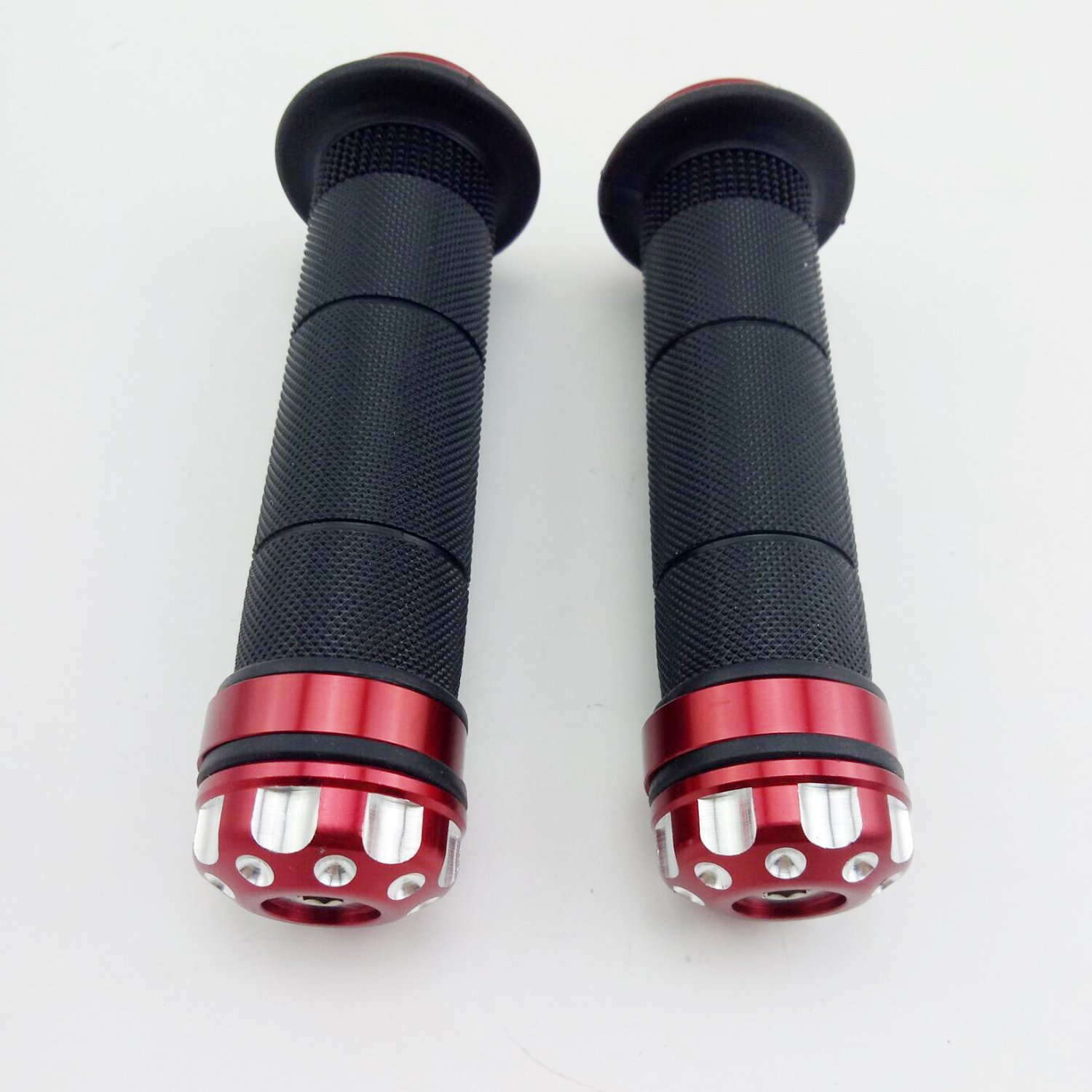 Black OKSTNO Universal Aluminum CNC Motorcycle 7//8 22mm Handlebar Grips Rubber Gel Hand Grips with Bar End