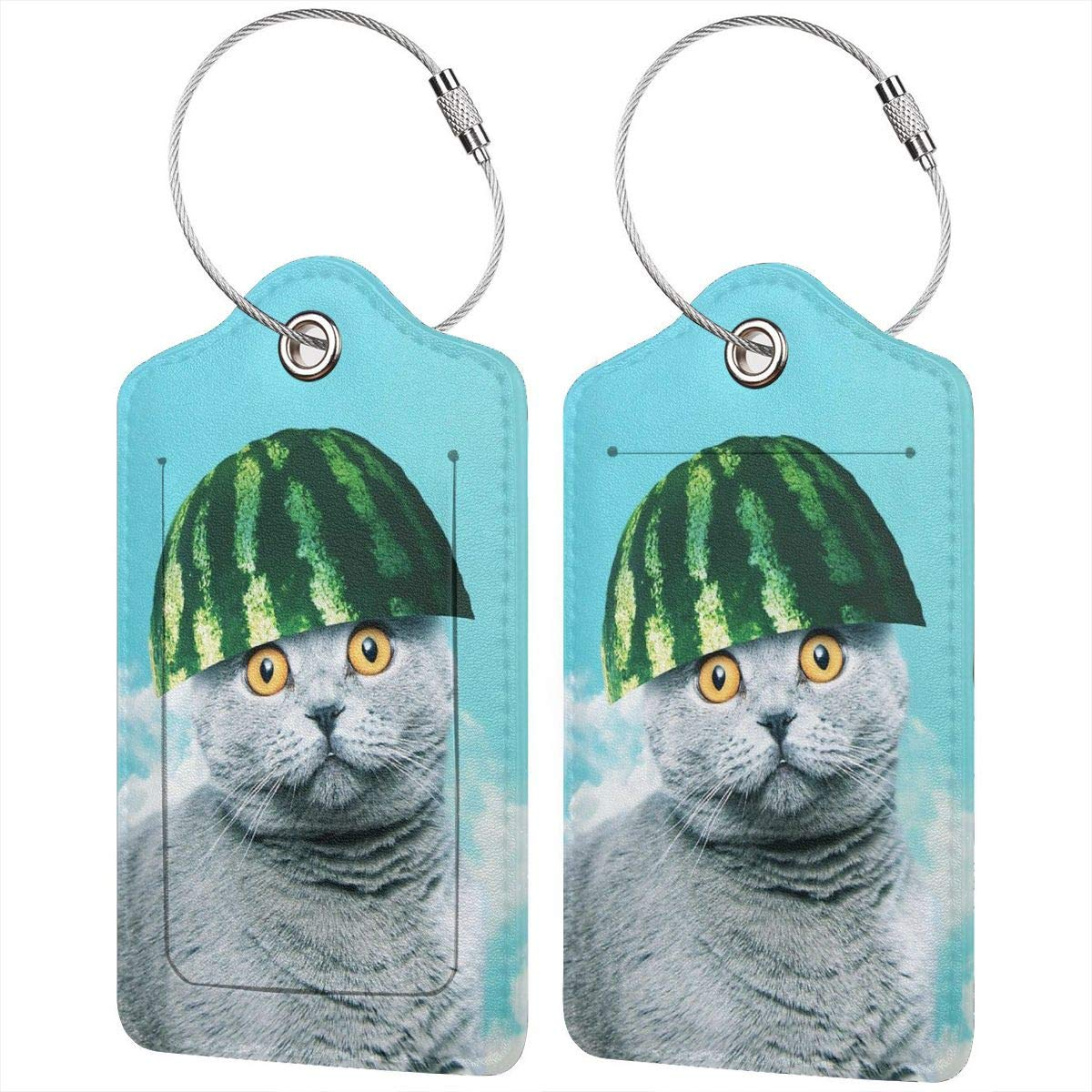Leather Luggage Tag Funny Watermelon Cat Sky Luggage Tags For Suitcase Travel Lover Gifts For Men Women 2 PCS