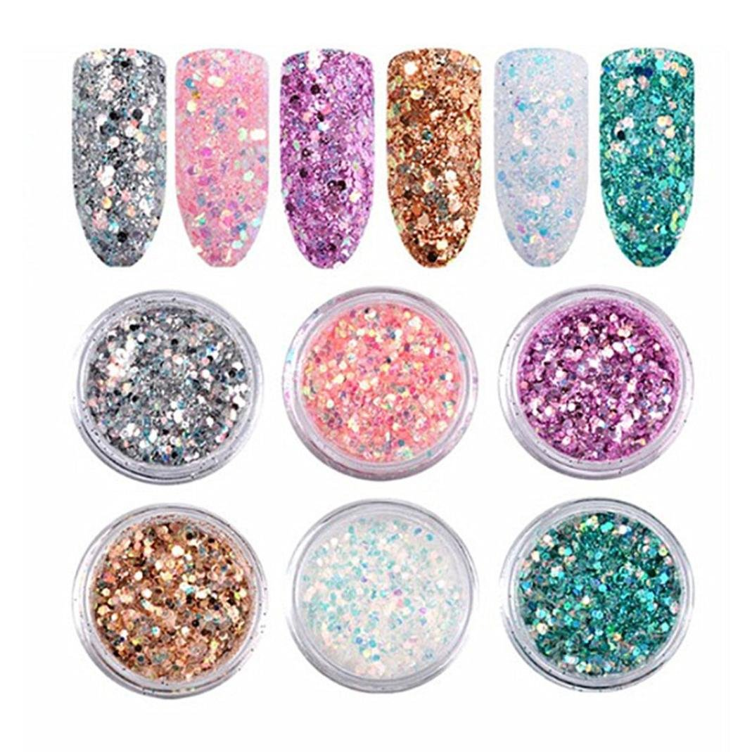 Dolloress Nail Tips ⭐6pcs/Set Color DIY Nail Art Glitter Dust Powder Tip Decoration