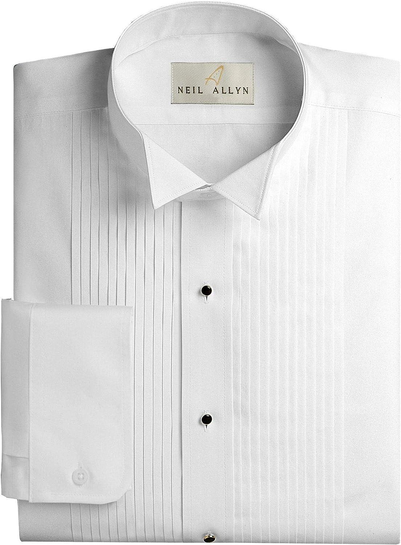 Neil Allyn Mens Tuxedo Shirt Poly//Cotton Wing Collar 1//4 Inch Pleat 18.5-38//39