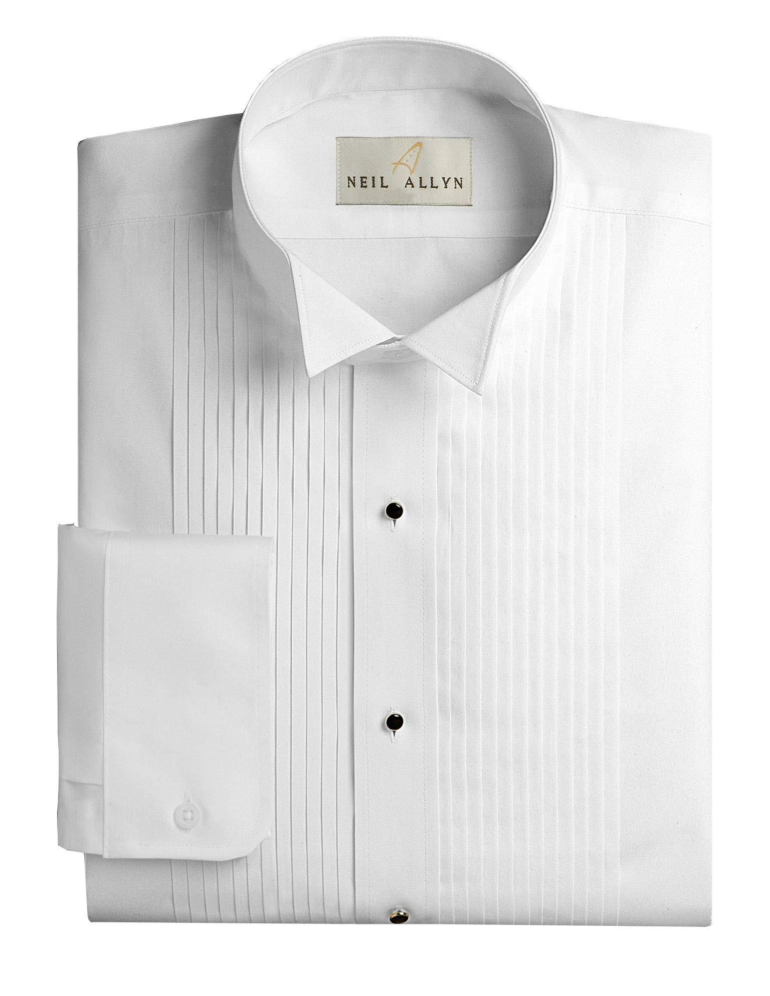 Neil Allyn Men's Slim FIT Wing Collar 1/4'' Pleats Tuxedo Shirt-2XL-32-33 White by Neil Allyn
