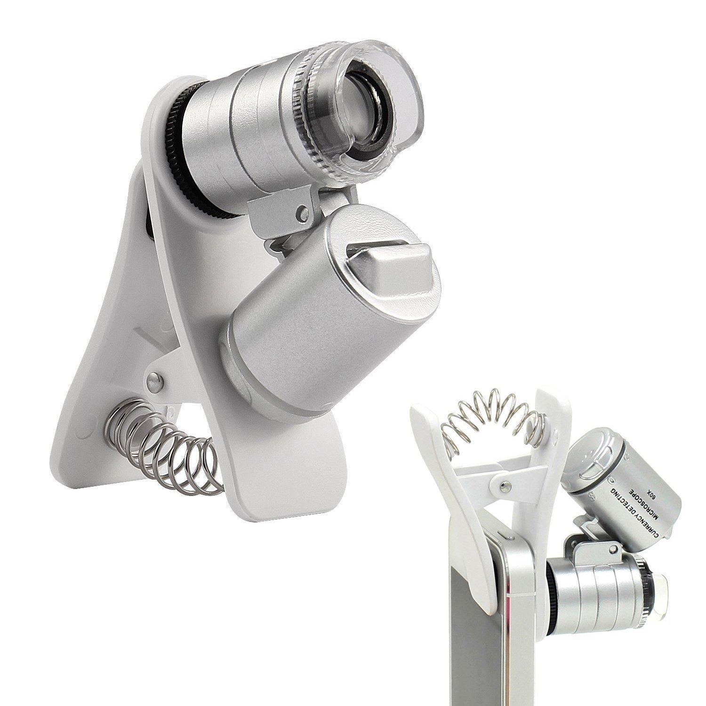 hnym-60X telefono mobile portatile clip mini LED UV microscopio ingrandimento Magnifier Micro Obiettivo ottico telescopio lente per Universal SmartPhoneand Tablets