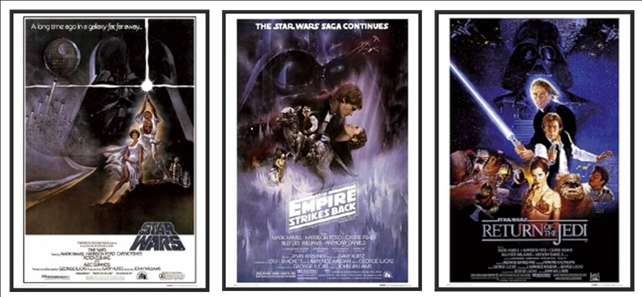 Wood Framed Episode IV V VI Star Wars 3 Movie Posters Set Of Classic Posters 24x36 Poster