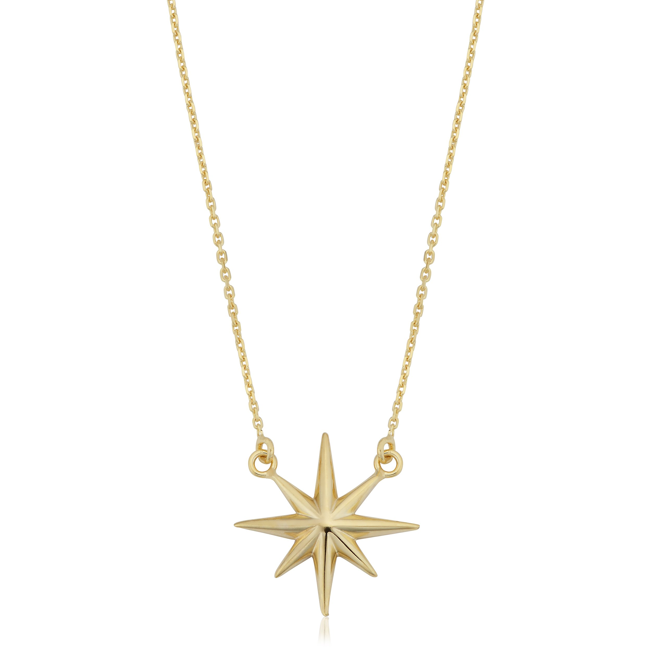 10k Yellow Gold North Star Necklace (18 inch)
