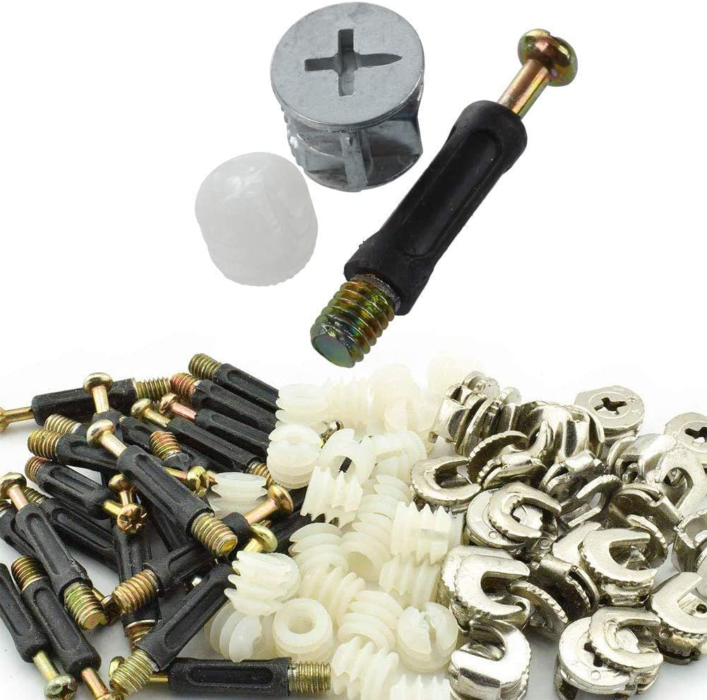Luckycivia 100 Sets Cam Fitting with Dowel 3-in-1 Hardware Connectors Furniture Side Connecting Pre-Inserted Nut Screw Eccentric Wheel
