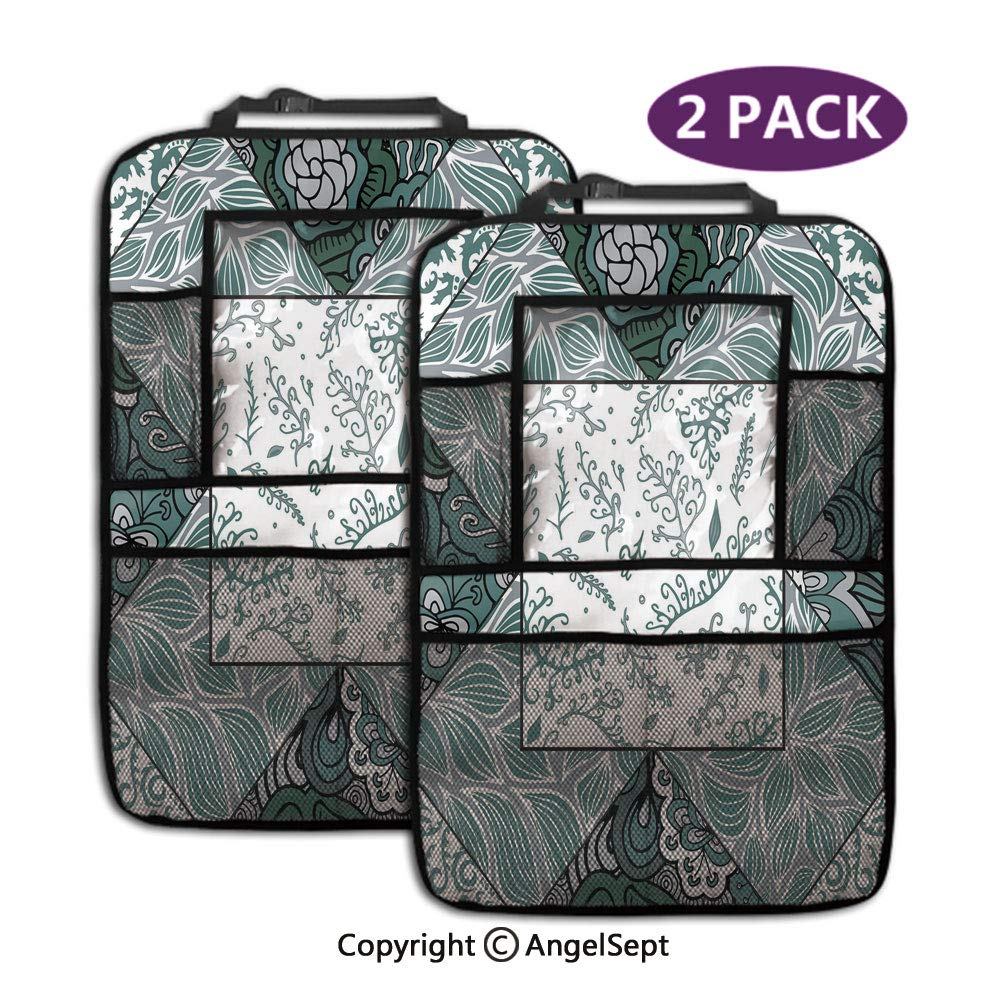 Fashion Backseat Car Organizer,Shabby Chic Leaves in Mix Chevron Swirled Nature Branches Flower Print Jade Green Grey White,19.3x27.2inch,Car Seat Protector Travel Accessories(2 Pack) by RWNFA
