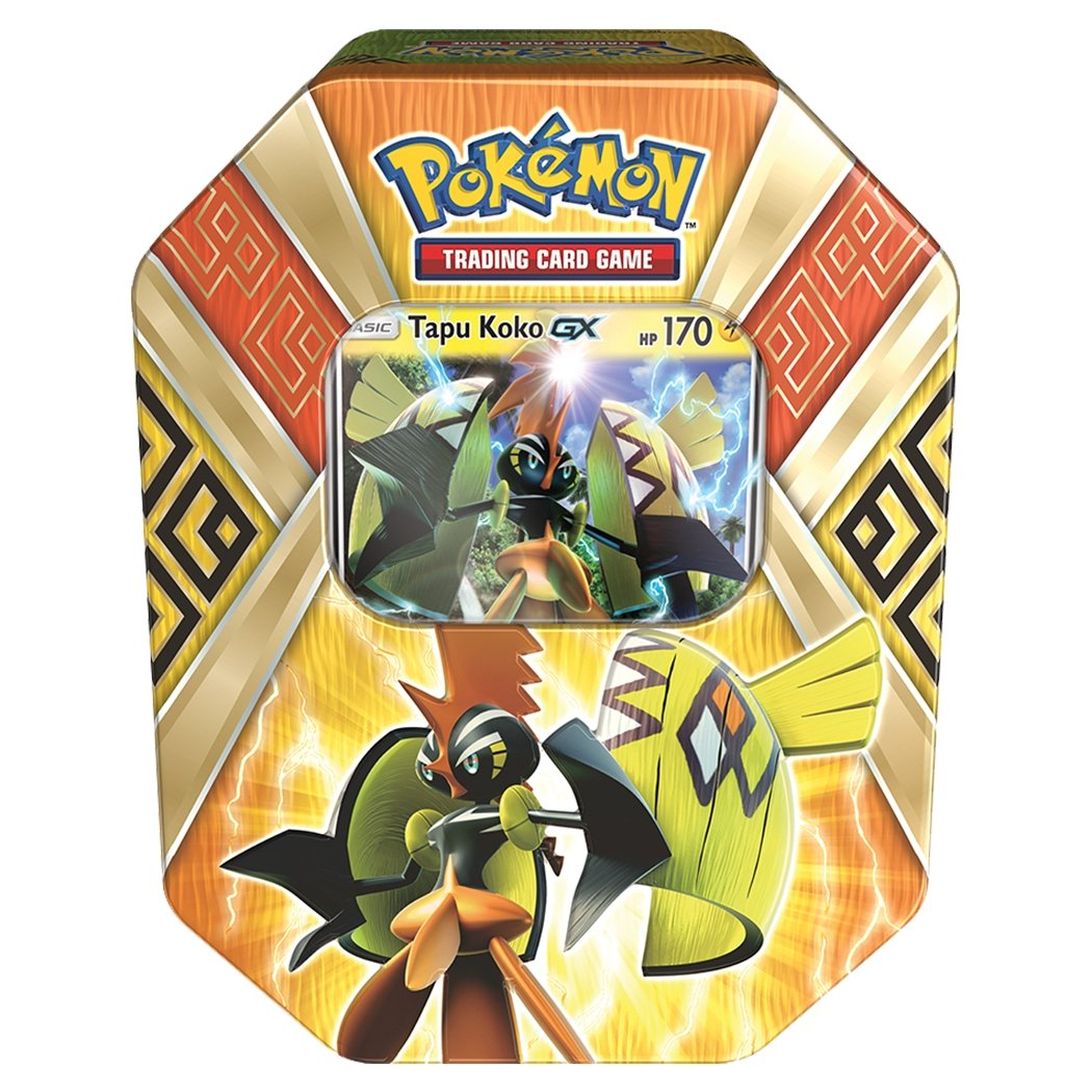 Pokemon TCG:: Sun & Moon Guardians Rising Collector's Tin Containing (4 Piece), Booster Packs and Featuring a Foil Tapu Koko-GX by Pokemon TCG: