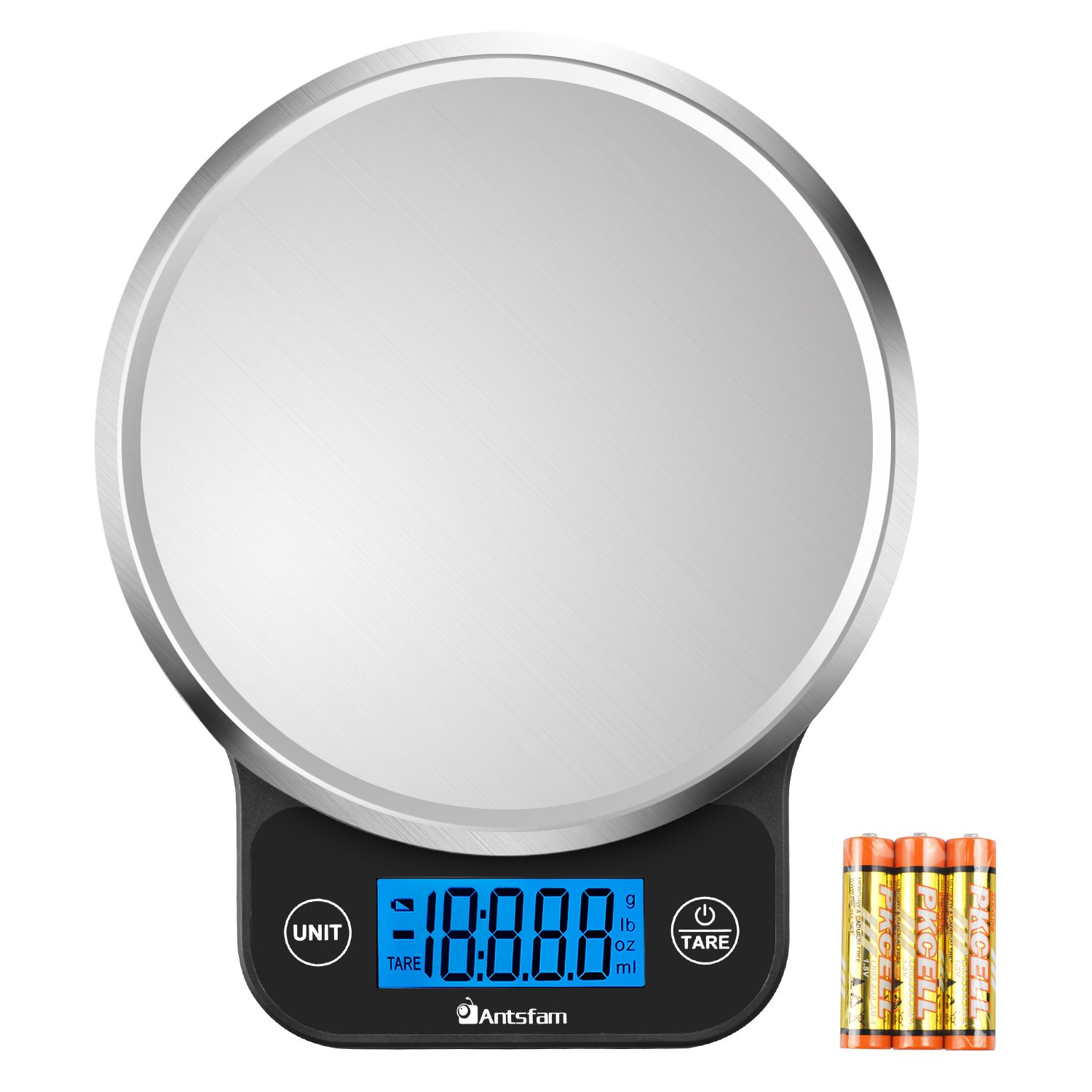 Digital Kitchen Food Scale Electronic Weight Scale for Dieting with Upgraded Blue Backlit Display-Batteries Included