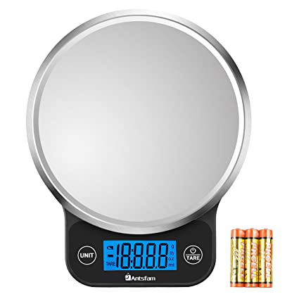 ffacc73d751a Digital Kitchen Food Scale Electronic Weight Scale for Dieting with  Upgraded Blue Backlit Display-Batteries Included