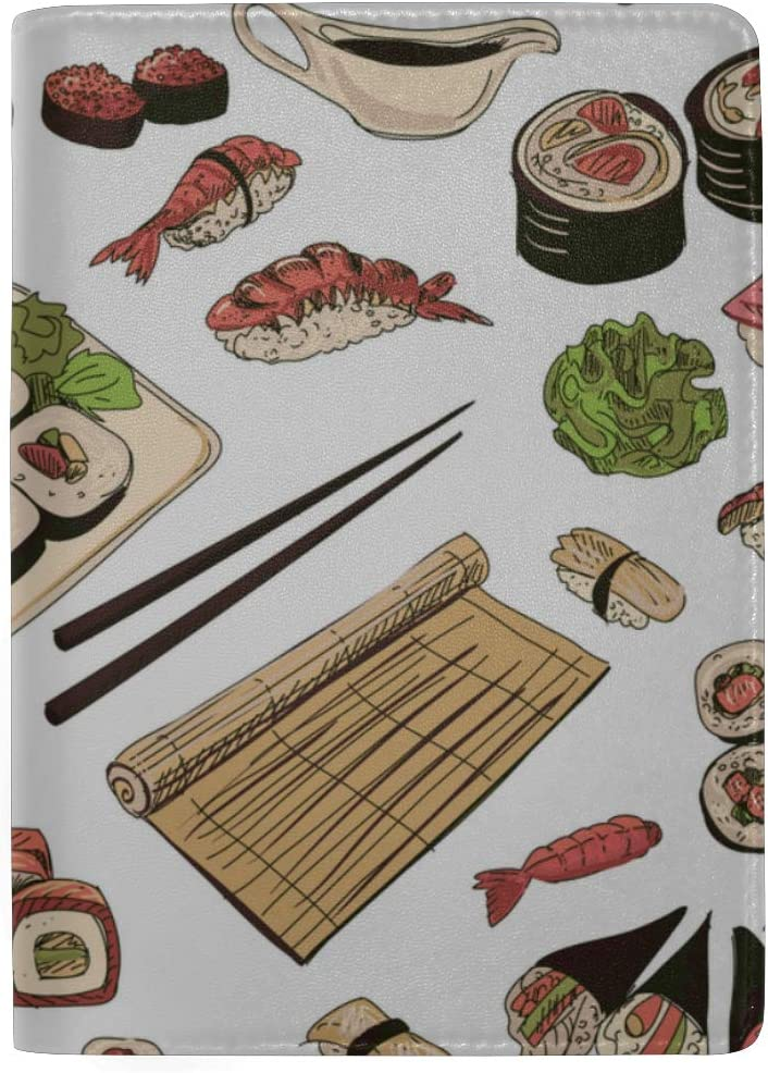 Japanese Seafood Cuisine With Sushi Blocking Print Passport Holder Cover Case Travel Luggage Passport Wallet Card Holder Made With Leather For Men Women Kids Family