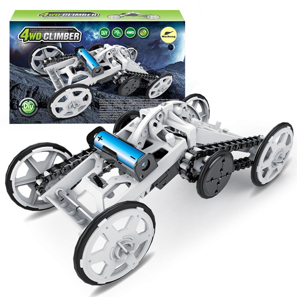 Mochoog Stem 4wd Electric Mechanical Assembly Gift Toys Automotive Circuits And Projects 17 Kit Intro To Engineering Diy Climbing Vehicle Circuit Building For Kids