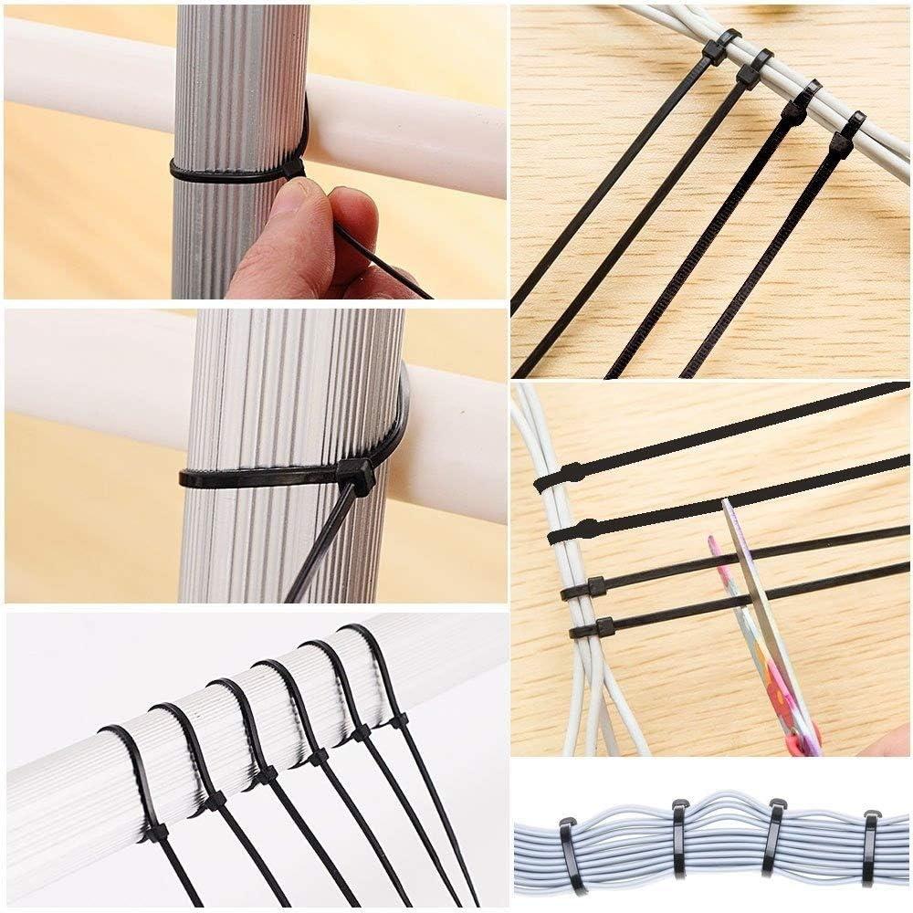 Multi-Purpose Cable Tie Durable-TIE Nylon Cable Tie Self Locking Zip Ties Strong Cable Tie-Wrap Self Locking Black Zip Cable Ties for Home Office Garage Workshop Heavy Duty 4mm x 8inch