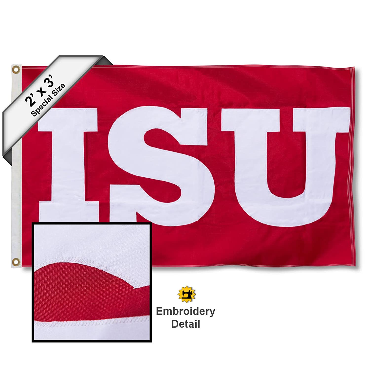 College Flags and Banners Co Illinois State Redbirds 2x3 Foot Embroidered Flag
