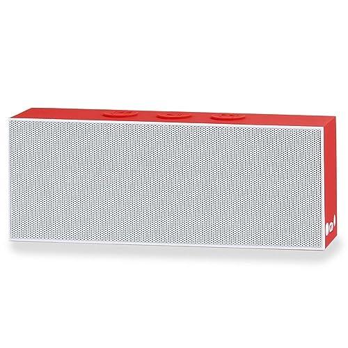 August SE30WR - Enceinte Stéréo Bluetooth Portable - Haut-Parleur Stéréo SoundBar compact avec prise Auxiliaire 3,5mm et Batterie Rechargeable intégrée - Blanc & Rouge