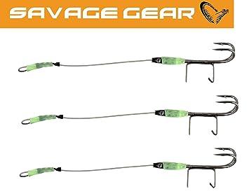 2 Angsthaken für Gummifische Drillinge Savage Gear Carbon 49 Double Stingers