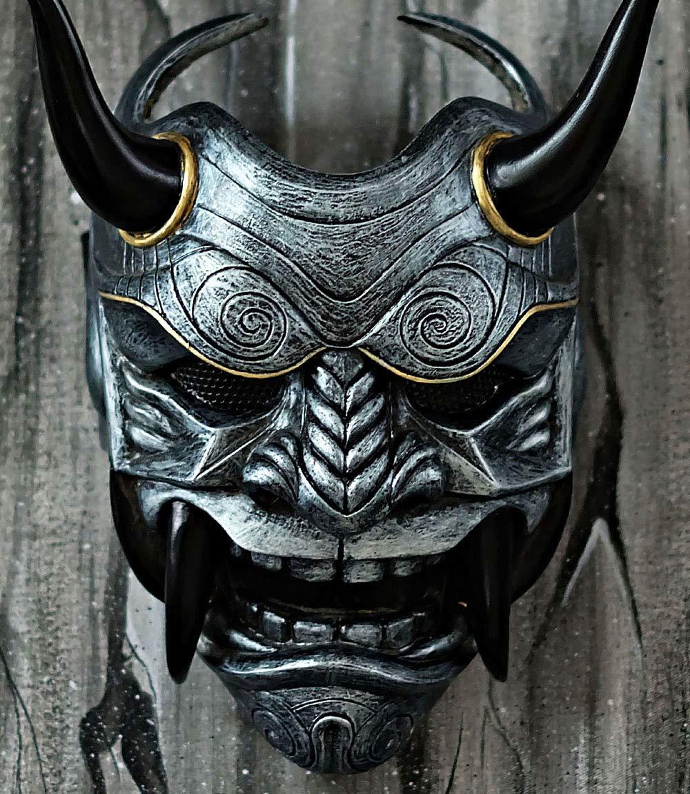 tripple_777 Samurai Assassin Demon Oni Airsoft Mask BB Gun Halloween Costume Ninja Warrior Evil Cosplay Silver DA04 by tripple_777