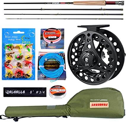 Amazon Com Fly Fishing Rod And Reel Combo Fly Fishing Full Kit 4 Piece Fly Rod Complete Starter Package Outfit Fly Rod Fly Reel With Travel Case 8 3 4 Sports Outdoors