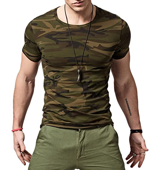 1660a47501af Amazon.com: XShing Mens Comfort-Soft Fitness Stretchy Crew-Neck Camo T-Shirt:  Clothing